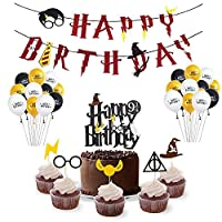 ‏‪Harry Potter Party Supplies Set-Happy Birthday Banner, Cake Topper,Cupcake Toppers,Party balloons-Harry Potter Party Decoration Kit‬‏