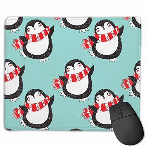 Professional Gaming Mouse Pads Christmas Penguin Laptop Pad Non-Slip Rubber Stitched Edges 18X22cm -