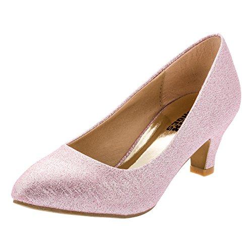 Festliche Mädchen Pumps Ballerina Schuhe Absatz Glitzer in Vielen Farben M342rsgl Rosa Glitzer 33