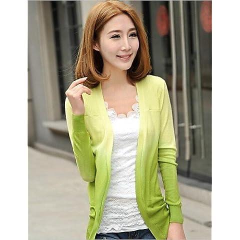 ZY/Cardigan da donna, colore: blu/verde/rosa/viola/rosso/giallo, Casual A Maniche Lunghe, yellow-one-size