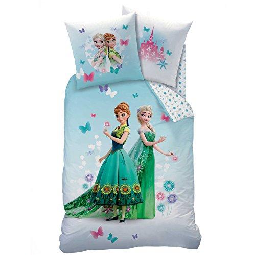 FrozenFraicheur - Juego de cama, compuesto por funda de edredón (140x 200 cm) + funda de almohada (63x 63 cm), diseño de Frozen, reina de las nieves