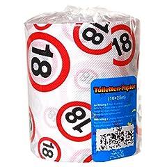 Idea Regalo - Preis am Stiel - Rotolo di carta igienica, con numero 18, idea regalo per il diciottesimo compleanno, decorazione per feste