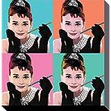 Audrey Hepburn - Pop Art, Cigarrette Holder Cuadro, Lienzo Montado Sobre Bastidor (40 x 40cm)