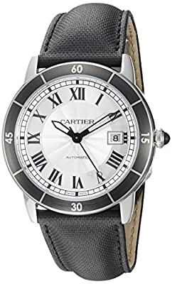 Cartier Men's 'Croisiere' Automatic Stainless Steel and Leather Casual Watch, Color:Black (Model: WSRN0002)