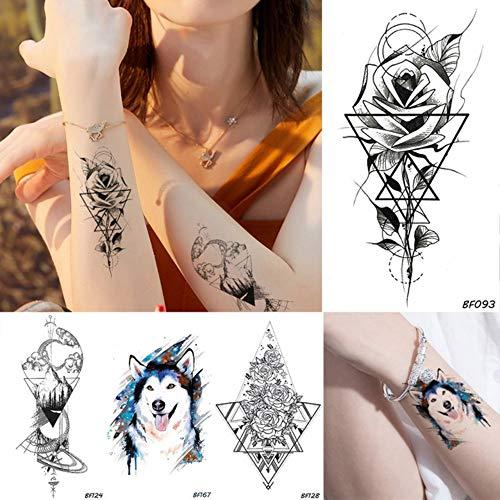 Anzihuanxi uomini geometrici fiori rosa donne nero tatuaggio temporaneo lupo blu impermeabile tatuaggi falsi body art braccia gambe fai da te adesivi tatuaggio 10.5x6 cm