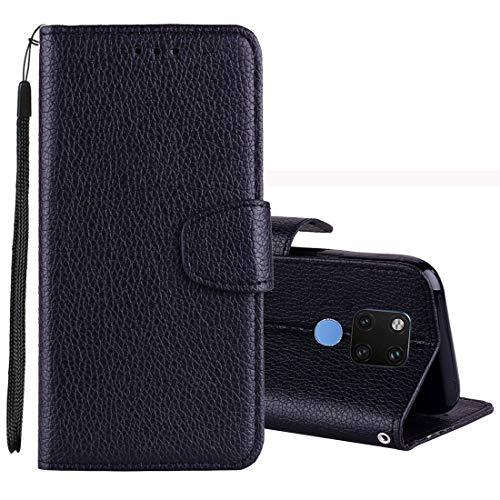 Für Huawei Hüllen & Cover Huawei Mate 20 Lychee Texture Horizontal Flip Leder Tasche mit Ständer und Kartensteckplatz, Geldbörse und Krawatten (Farbe : Schwarz) (Krawatte, Geldbörse)