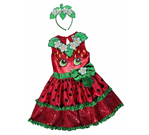 Kiss Mädchen Kostüm - New George Shopkins Kids Mädchen Strawberry Kiss Fancy Kleid Kostüm Outfit [3-4]