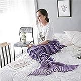 XILIUHU Wellenförmige gestreifte Mermaid Decke Wolle Stricken Fish Tail Kissen Decke Bett Herbst Winter Schlafsack Decken Geburtstag Geschenk, 2.180 X 90 cm