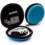 MyGadget Universal Mini Tasche Schutztasche - Kopfhörer Transport Box mit Netzfach - Zubehör für z.B. In Ear Ohrhörer, iPod Shuffle, USB Sticks - Blau