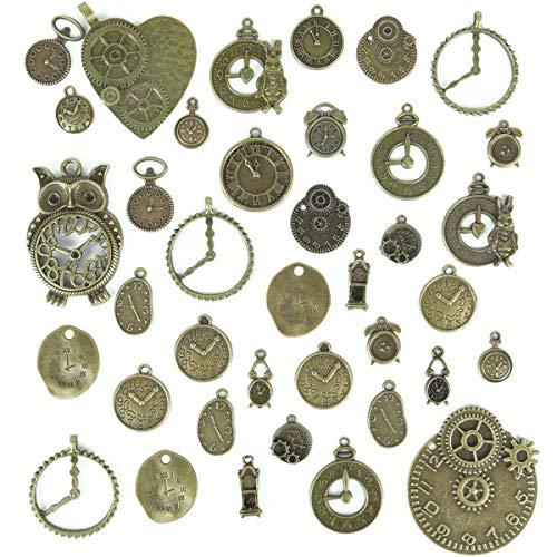 100g antike bronze steampunk getriebe cogs uhr uhr gesicht charms anhänger für diy schmuck machen lieferungen, steampunk zubehör, handwerk projekte