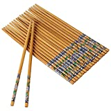 Kitchen Delli Natural Designer Round Bamboo Reusable Chopsticks, 9.5-inch(Brown) - Set of 10