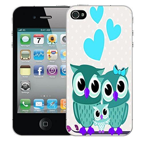Nouveau iPhone 4 clip on Dur Coque couverture case cover Pare-chocs - mexican owls Motif avec Stylet love owls blue