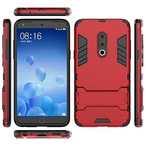 TenYll Meizu 15 Hülle, Doppelschicht-Design Stoßfest Hybrid Robuste TPU+PC Schutzhülle Mit Standfunktion,Hülle für Meizu 15 -rot