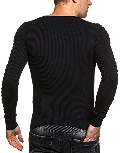 BLZ jeans - Pullover homme noir col V fine maille Noir