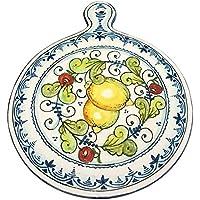 CERAMICHE D'ARTE PARRINI- künstlerische italienische Keramik, dekorative Dreifuß Zitronen, handgemalt, hergestellt in Italien Toscana