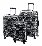 Vertrieb durch Preiswert & Gut Trolley Set 3teilig schwarz Cosmo Koffer Set Dehnfalte Reisekofferset für 10% mehr Stauraum 4 Zwillingsrollen-360 Grad mit Kofferschutzbeutel