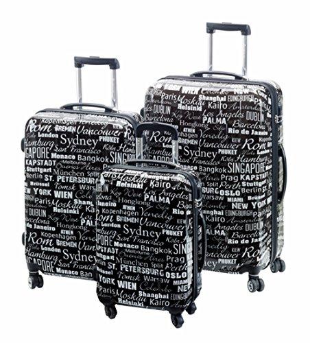 Trolley Set 3teilig schwarz Cosmo Koffer Set Dehnfalte Reisekofferset für 10% mehr Stauraum 4 Zwillingsrollen-360 Grad mit Kofferschutzbeutel