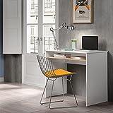 Habitdesign 0F2314BO - Mesa de ordenador con bandeja extraible acabada en melamína roble natural y blanco brillo , medidas 90 x 79 x 54 cm de fondo