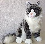 sitzende graugetigerte Katze Maine Coon 35 cm, von Luigi Bochetta, Plüschkatze, Kuscheltier