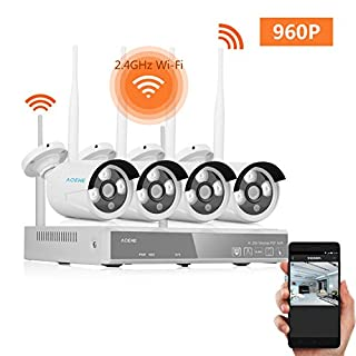 Wireless CCTV Camera Systems ACEHE 1280x960P P2P 4CH 960P Wireless CCTV Camera Systems NVR Kit for Home Indoor Outdoor, Smart Playback Baby Monitor Nanny Pet Cam Motion Detection Email Alerts NO HDD