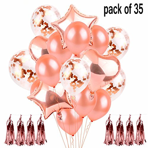 35 Stück Rose Gold Konfetti Ball...
