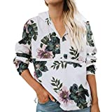 TWIFER Damen Mode Blumendruck Shirt Langarm Zipper Bluse mit Kapuze Sweatshirt