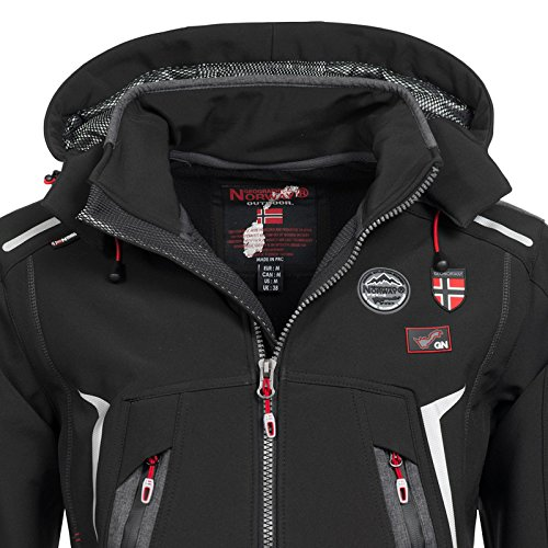 Geographical Norway Herren Funktions Softshelljacke Tonic abnehmbare Kapuze Black
