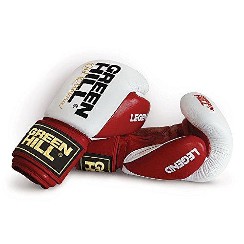 GREEN HILL Guanti da Boxe Legend GUANTONI Pelle Pugilato Sparring Allenamento (Rosso, 14 oz)