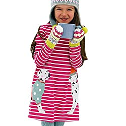 Webla Toddler Baby Girl Kids Cartoon Dog Pattern Stripe Dress For 1-5 Years Old