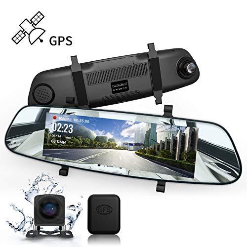 "DuDuBell Streaming Dashcam Autokamera 7\"" Rückspiegel Monitor Dual Lens 1080P Frontkamera und 720P Rückfahrkamera mit IPS Touchscreen Super Nachtsicht GPS HDR"