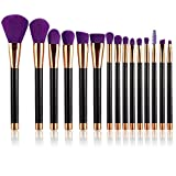 UNIMEIX Professional Make-up Pinsel, 15 Pinselset, Comestics Bürsten, Foundation Blending Comestic ToolBlush Flüssige Puder Creme Kosmetik Pinsel (Lila)