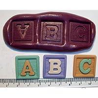 Stampini in silicone per decorazione torte e cupcake, per bambini, con quadrati con lettera A B C