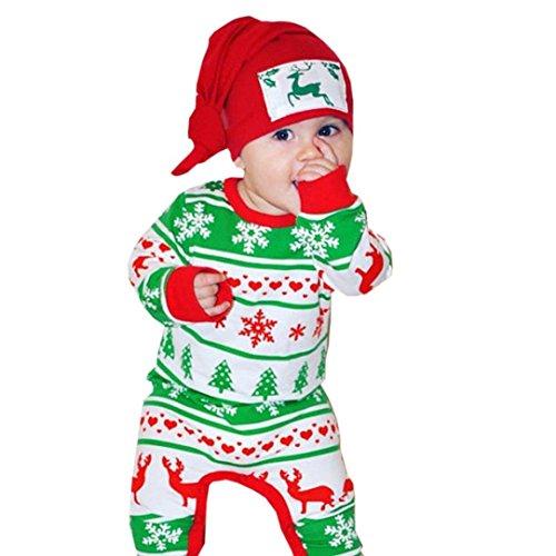 BURFLY Kinderkleidung ♥Kleinkind-Baby-Weihnachten lange Hülsen-Rotwild-Druck-Spielanzug-Kleidung (nicht enthalten Hut) (90, Grün) (Katze In Den Hut Partei Ideen)