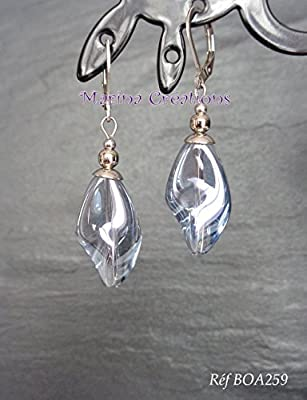 Boucles d'oreilles acier inoxydable, perles verre gris transparent torsadé, boucles chic, élégantes, soirée, mariage BOA259