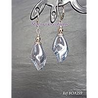 Edelstahl Ohrringe, transparente graue Glas Twisted Perlen, schicke, elegante Schnallen, Abend, Hochzeit