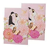 50Pear Papier Laser geschnitten Bronzing Hochzeit Baby Dusche Einladung Karten mit Schmetterling Hohl Einladung tonkartons Gastgeschenken für Verlobung Geburtstag Graduation Yc073