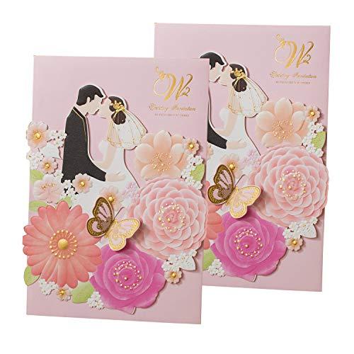 50Pear Papier Laser geschnitten Bronzing Hochzeit Baby Dusche Einladung Karten mit Schmetterling Hohl Einladung tonkartons Gastgeschenken für Verlobung Geburtstag Graduation Yc073 (Baby-dusche Für Karten)