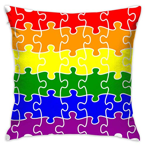 Rainbow Flag Gay Pride Throw Pillow Cases Square Cushion Cover for Sofa Decorative Office Chairs Home Decorative 18x18 Pillowcase -