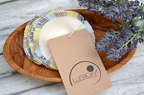 Abschminkpads aus Bio-Baumwolle, waschbar, 10 Stück, Kosmetikpads, wiederverwendbare Wattepads, Gesichtsreinigung, umweltfreundlich, nachhaltig, Zero Waste, creme, Lunaciel -