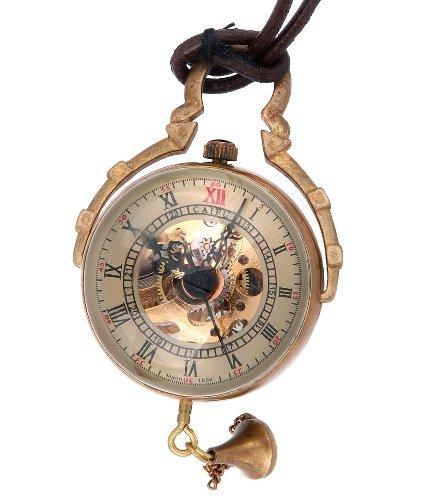 Skeleton Ciondolo Orologio da tasca Movimento meccanico a mano Vento Steampunk dell'annata di stile della sfera di cristallo numeri romani - PW13