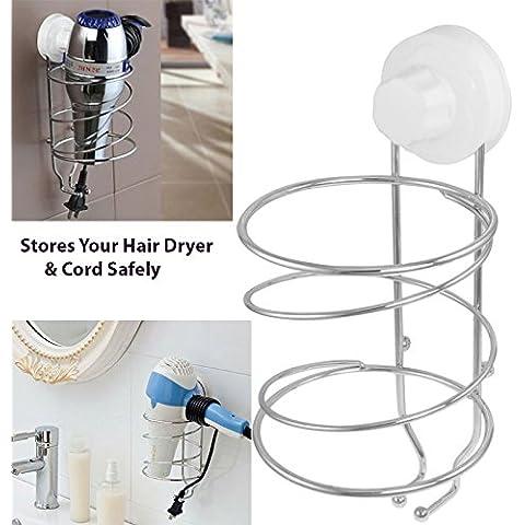Ventosa Supporto per asciugacapelli e cavo Tidy Store–Pratico Per Asciugacapelli e Piastra Plus Free LED portachiavi torcia