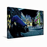 Calvendo Premium Textil-Leinwand 45 cm x 30 cm Quer Börsenplatz mit Bulle und Bär | Wandbild, Bild auf Keilrahmen, Fertigbild auf Echter Leinwand, Leinwanddruck