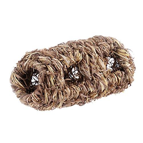 UEETEK Kleine Tier Stroh Gras Bett Haus Hamster Bett Käfig mit 10 Löcher, Frettchen Hamster Gerbil Chinchillas Haus Vogel Cubby Nest Cage (Cubby Mitten)
