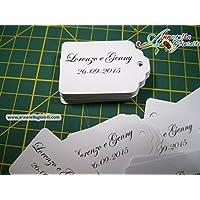 Cartellini per bomboniera personalizzati, semplici, 3x4,5 cm, bomboniere, multicolor, etichette,matrimonio, battesimo, comunione, cresima, laurea, natale, tag classici.