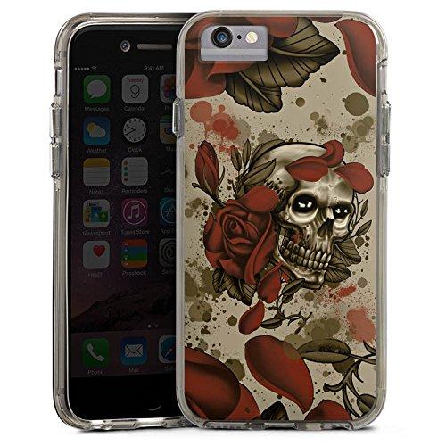 Apple iPhone 6s Bumper Hülle Bumper Case Glitzer Hülle Tattoo Rock N Roll Skull Bumper Case transparent grau