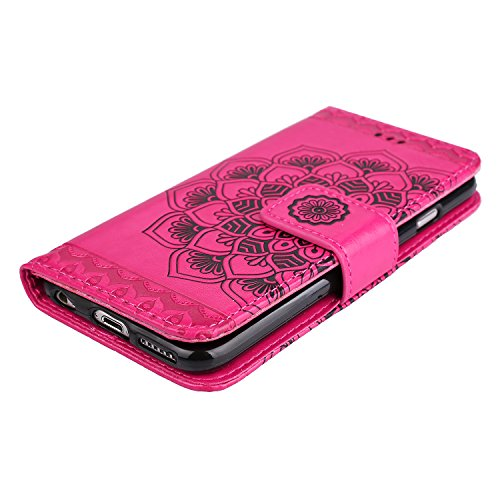 Apple iPhone 6/6S(4.7 Zoll) Coque, Ecoway Motif Etui Portefeuille Flip PU Cuir Flip Cover Emplacement de Carte de Portefeuille Support Slots de cartes Case Cover Housse Etui Coque de Protection Pour A Rose rouge