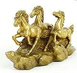 FENGSHUI Chinesische Messing Erfolg Animal Sternzeichen 3Pferd Pferde Statue Skulptur