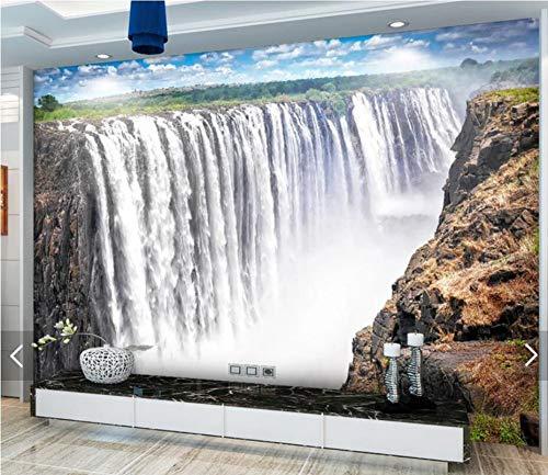 Wemall 3D Forest Waterfall Mural Papeles pintados de pared Fondos de pantalla Naturaleza Lona HD Foto Fondos de pantalla Mural de la decoración, 350x245 cm (137.8 por 96.5 in)