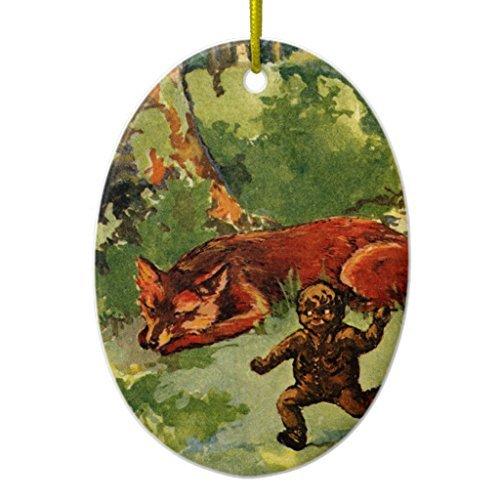 WSMBDXHJ Weihnachtsbaum-Dekoration, Lebkuchenjunge und Fuchs, Keramik, Weihnachtsdekoration, für Zuhause, 2018 Andenken, oval