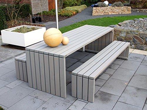 Gartenmöbel Set 1 Holz, Oberfläche: Transparent Geölt Grau